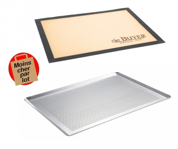 140x117 - Lot plaque à pâtisserie perforée + Tapis de cuisson perforé De Buyer